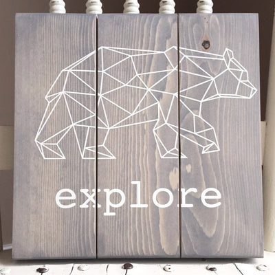 Explore Geometric Bear | Wood Sign