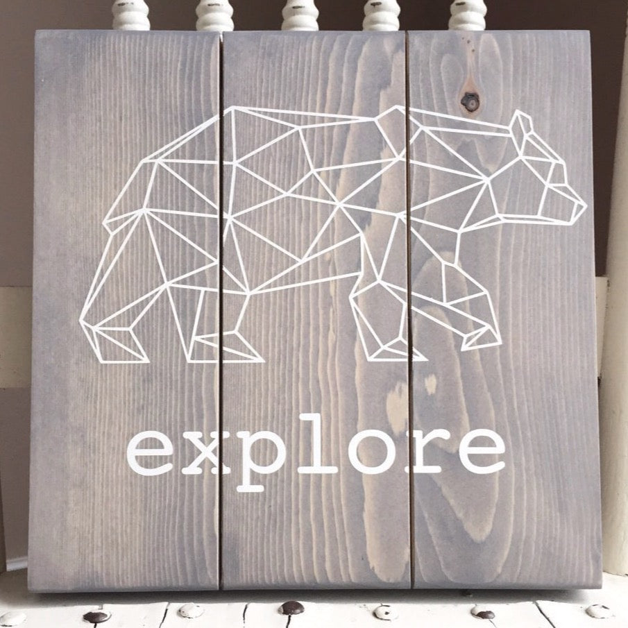 Explore Sign, Geometric Bear Sign, Explore Bear Sign, Explore Nursery Sign, Origami Bear, Polygonal Bear, Adventure Nursery, Geometric Bear