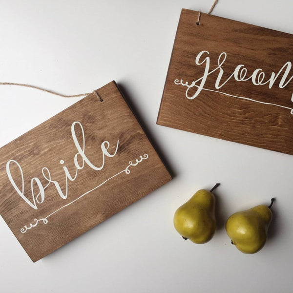 Bride and Groom Signs, Hanging Chair Signs, Hanging Wedding Signs, Mr & Mrs Sign, Bride and Bride Signs, LGBT Wedding, LBGTQ Union Signs