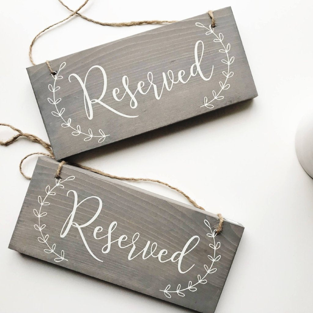 Reserved Signs, Reserved Chair Signs, Wedding Chair Signs, Small Wedding Sign, Rustic Wedding, Bridal Shower, Reserved Seating