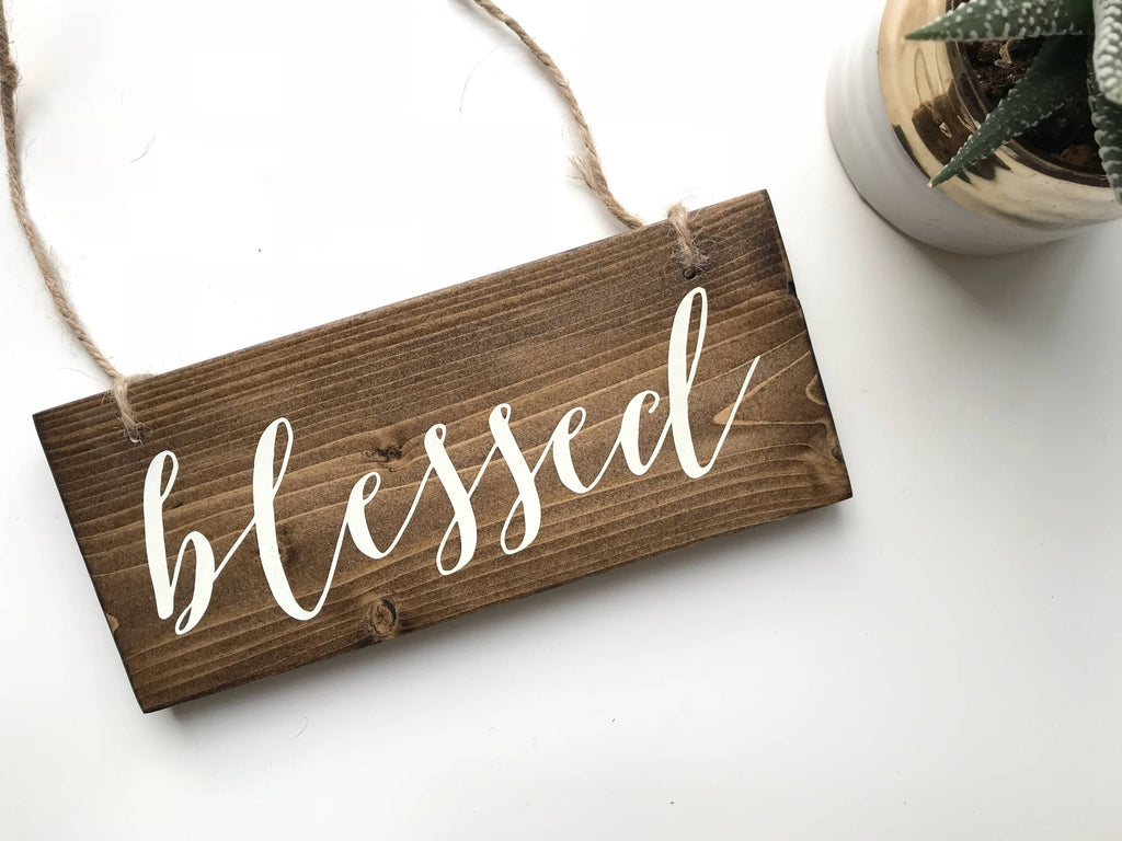 Blessed Sign, Intention Word, Blessed Decor, Blessed Wood Sign, Rustic Blessed Sign, Woodland Decor, Woodland Living Room, Inspiration Word