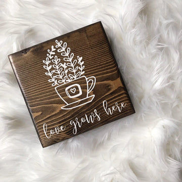 Love Grows Here | Wood Desk Block