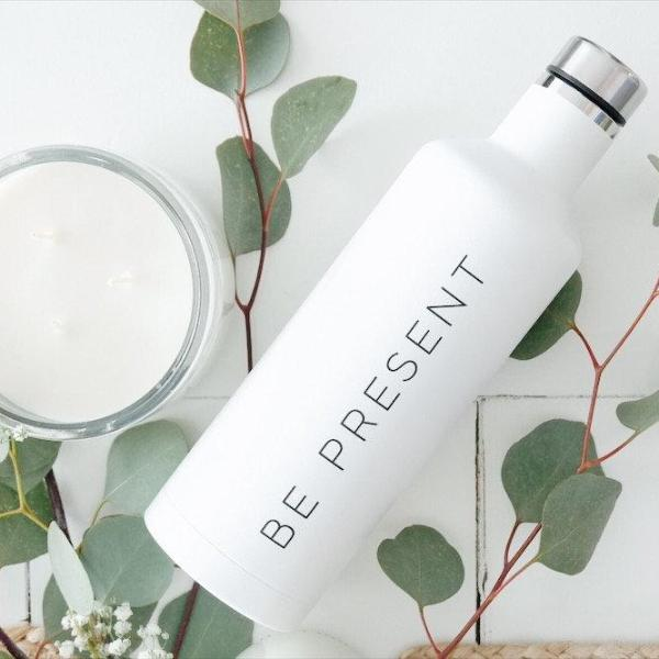Be Present Water Bottle, Yoga Decor, Yoga Gifts, Yoga Water Bottle, Be Present Gift, Mothers Day Gift