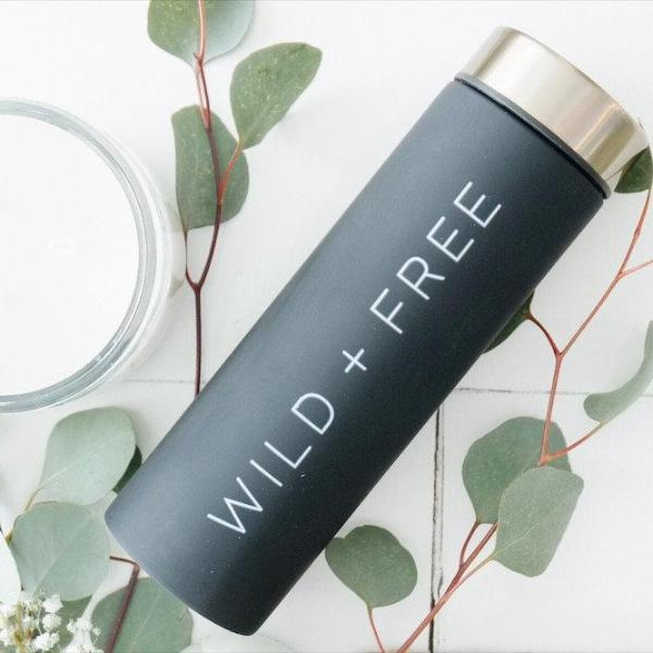 Wild & Free Insulated Travel Mug, Wild + Free, Insulated Camping Mug, Insulated Hiking Mug, Stainless Steel Thermos, Wild and Free Mug