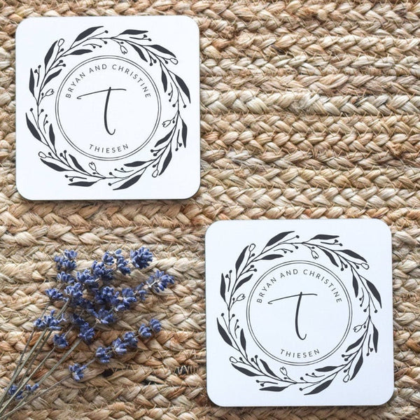 Last Name Coasters, Monogrammed Coasters, Monogram Housewarming Gift, Personalized Wedding Gift, Custom Engagement Gift,