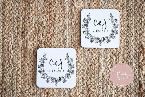 Custom Initial Coasters, Monogrammed Coasters, Monogram Housewarming Gift, Personalized Wedding Gift, Custom Engagement Gift,