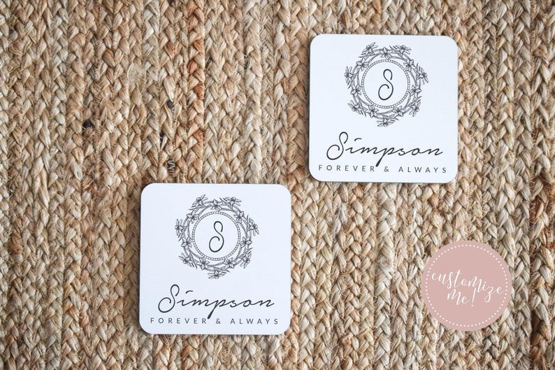 Custom Wedding Coasters, Custom Gift for Him, Groom Gift, Wife Gift, Unique Wedding Gift,  Custom Housewarming Gift, Custom Anniversary Gift