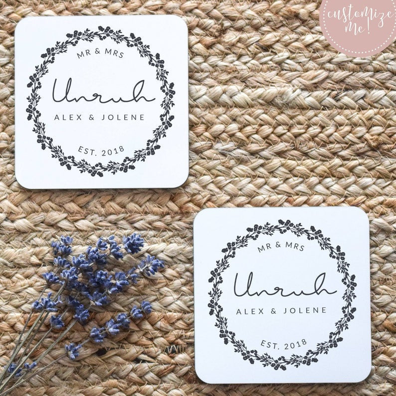 Last Name Coasters, Wedding Date Coasters, Wedding Date Gift, Last Name Gift, Last Name Home Decor, Custom Housewarming Gift, Custom Decor