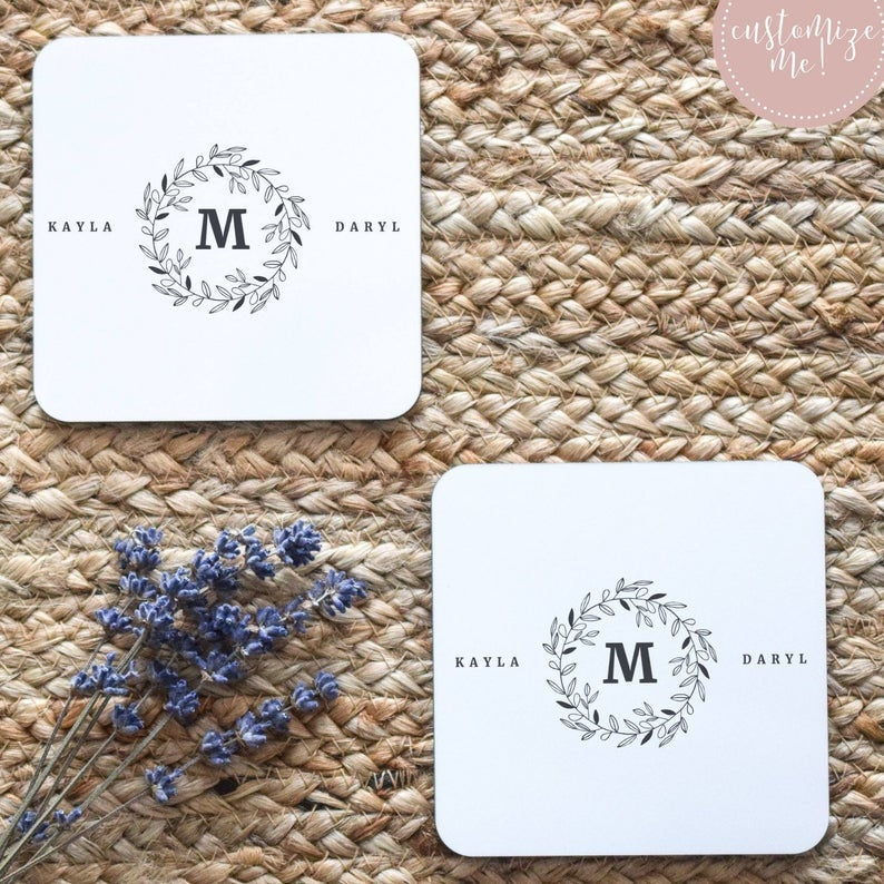 Initial Coasters, Wedding Date Coasters, Wedding Date Gift, Last Name Gift, Last Name Home Decor, Custom Housewarming Gift, Custom Decor