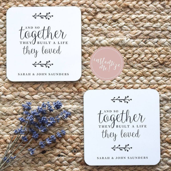 Together They Built a Life They Loved Coasters, Life They Loved Gift, Housewarming Gift, Custom Housewarming Gift, Custom Wedding Gift