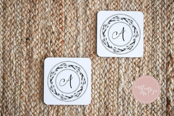 Initial Coasters, Monogram Housewarming Gift, Monogram Home Decor, Last Name Decor, New Home Gift, Custom Housewarming Gift, Last Name