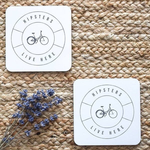 Hipsters Live Here Coasters, Housewarming Gift, Hipster Gift, Funny Housewarming Gift, Funny Gift, Gift for Him, Gift for Couple, New Home