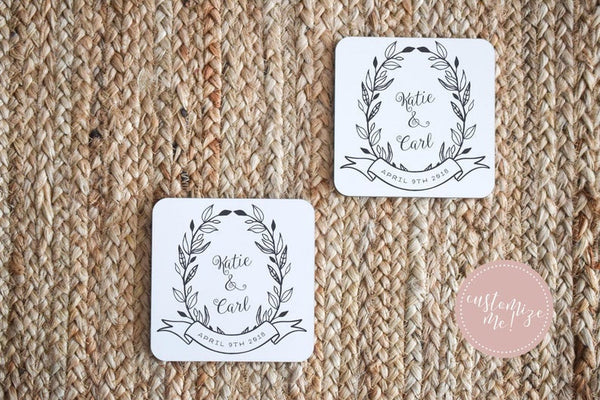 Custom Name and Wedding Date Coasters, Custom Coasters, Custom Housewarming Gift, Personalized Wedding Gift, Custom Engagement Gift