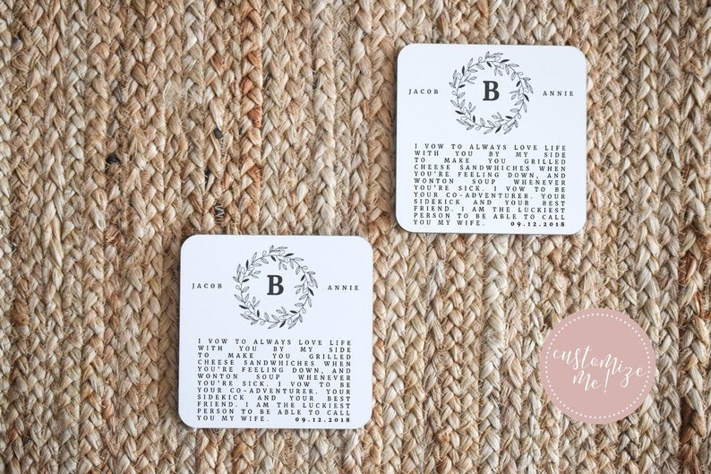 Custom Wedding Vow Coasters, Wedding Vow Gift, Custom Wedding Gift, Unique Wedding Gift,  Custom Housewarming Gift, Custom Anniversary Gift