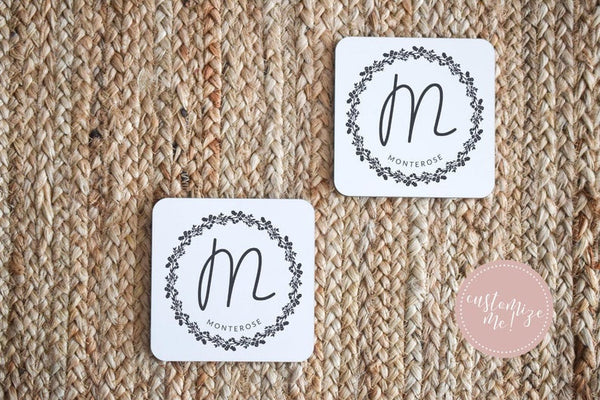 Monogrammed Coasters, Monogram Housewarming Gift, Monogram Home Decor, Last Name Decor, New Home Gift, Custom Housewarming Gift, Last Name