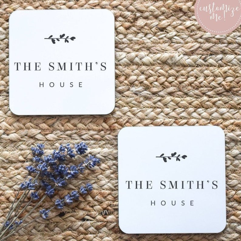 Custom Name Coasters, Housewarming Coasters, Wedding Gift, Last Name Gift, Last Name Home Decor, Custom Housewarming Gift, Custom Decor