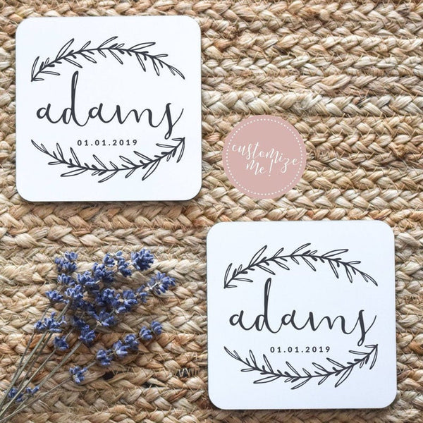 Last Name Coasters, Monogram Housewarming Gift, Monogram Home Decor, Last Name Decor, New Home Gift, Custom Housewarming Gift, Last Name