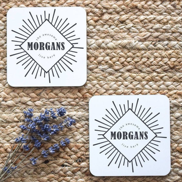 Custom Name Coasters, Custom Coasters, Custom Housewarming Gift, Personalized Wedding Gift, Custom Engagement Gift, Funny Wedding Gift