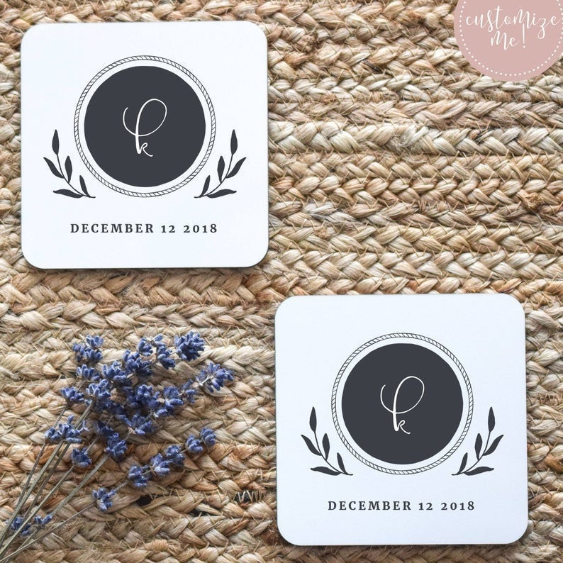 Initial and Wedding Date Coasters, Custom Coasters, Custom Housewarming Gift, Personalized Wedding Gift, Custom Engagement Gift Wedding Gift