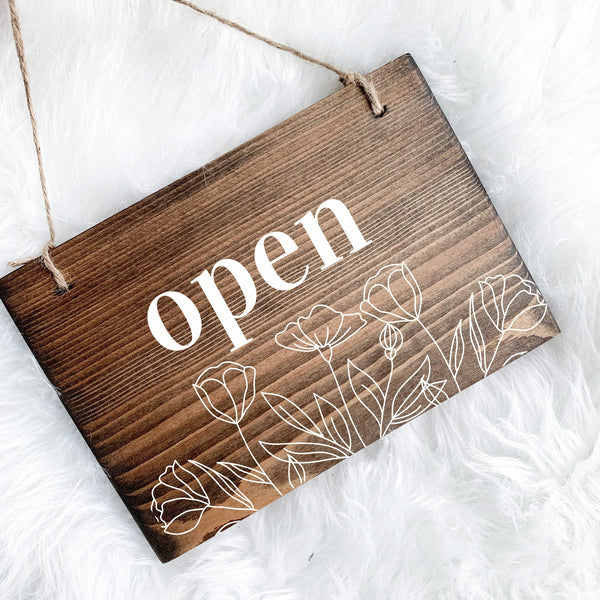 Reversible Open & Closed Sign, Do Not Disturb, Open and Closed Sign, Yoga Studio Decor, Studio Open Sign, Small Open Sign, In Session Sign