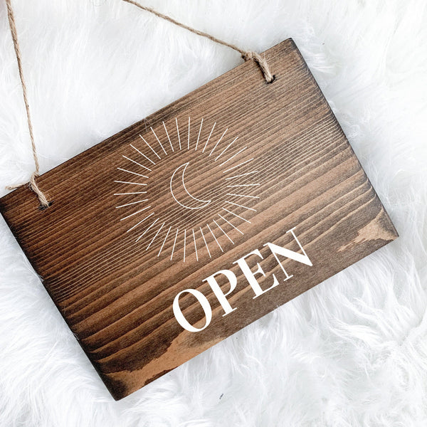 Mystic Open & Closed Sign, Celestial Boutique Sign, Mystical Open Sign, Yoga Studio Decor, Small Open and Closed Sign, Moon Sign, Star Sign