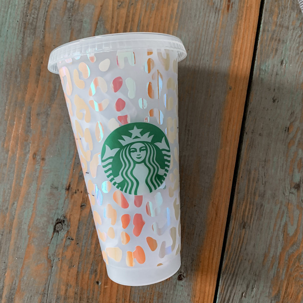 Full Wrap Leopard Print Reusable Starbucks Cup, Reusable Cold Cup, Reusable Starbucks Cold Cup, Reusable Venti Cup, Plain Starbucks Cold Cup