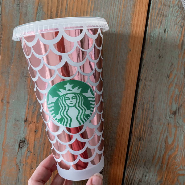 Full Wrap Mermaid Print Reusable Starbucks Cup, Reusable Cold Cup, Reusable Starbucks Cold Cup, Reusable Venti Cup, Plain Starbucks Cold Cup
