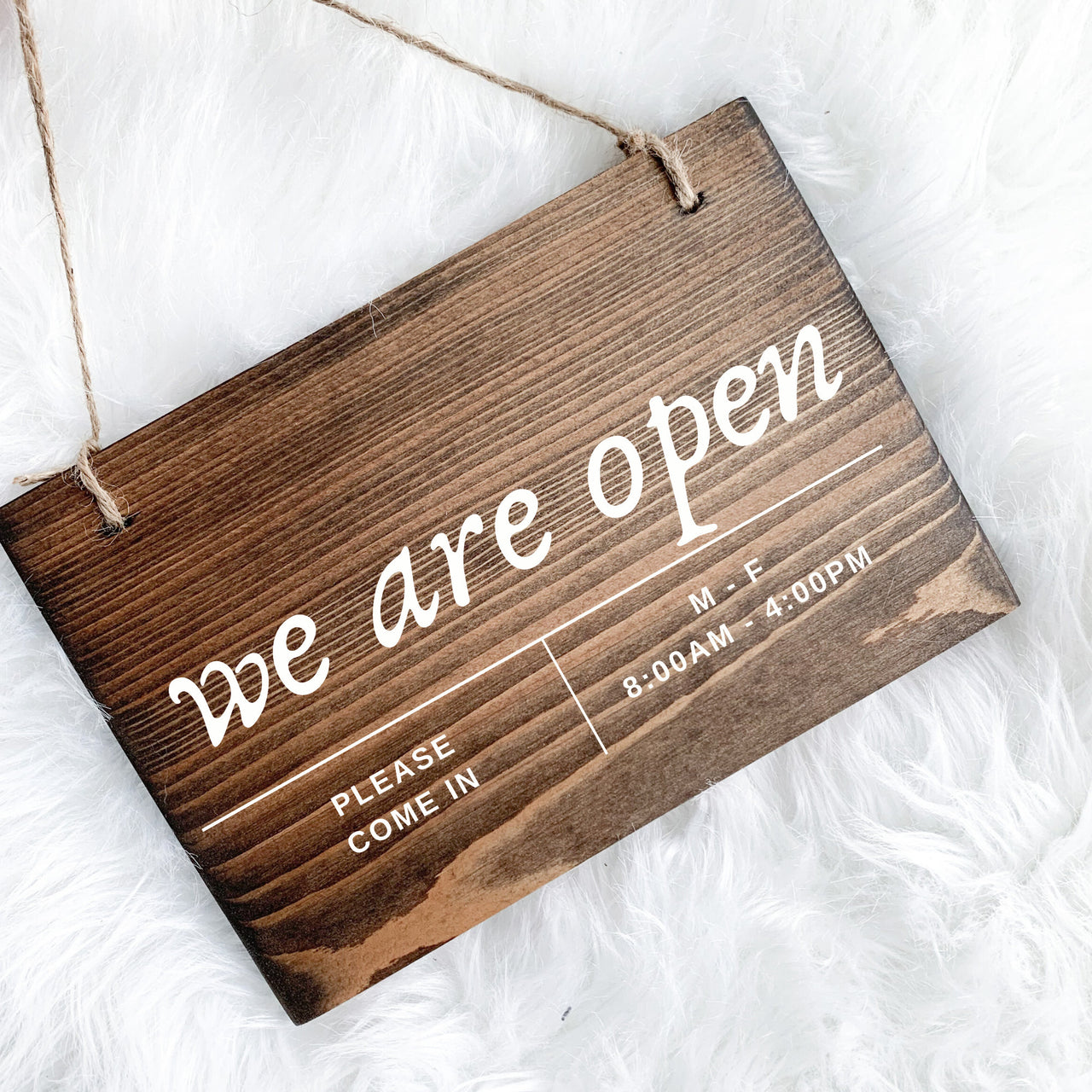 We Are Open Sign, Open and Closed Sign, Store Hours Sign, Boutique Hours Sign, Shop Hours Sign, Reversible Open & Closed Sign, Custom Sign