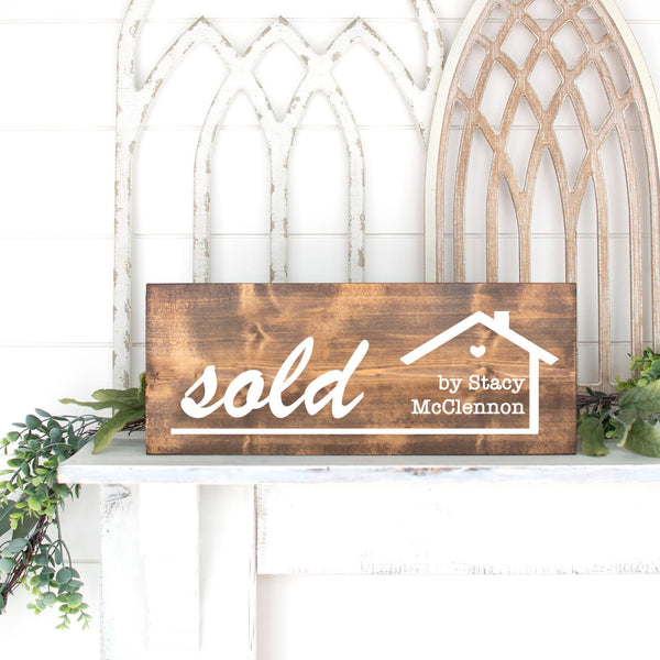 Sold Sign for Realtor, Closing gift Real Estate Agent Broker, Photo Prop Advertisement, Personalized Customized, Buying and Selling, Estate
