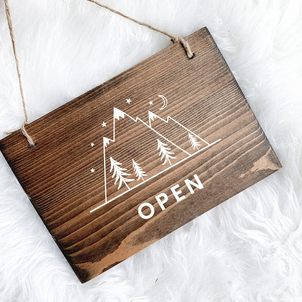Adventure Themed Open & Closed Sign, Mountain Open Sign, Open and Closed Sign, Mountain Decor, Studio Open Sign, Adventure Tourism Sign