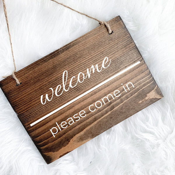 Welcome Sign, Please Come In Sign, Open Sign, Yoga Studio Decor, Studio Open Sign, Small Open Sign, Please Remove Shoes Sign