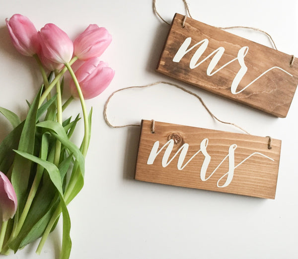 Mr & Mrs Hanging Chair Signs, Mr & Mrs Chair Signs