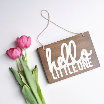 Hello Little One | Hanging Wood Sign