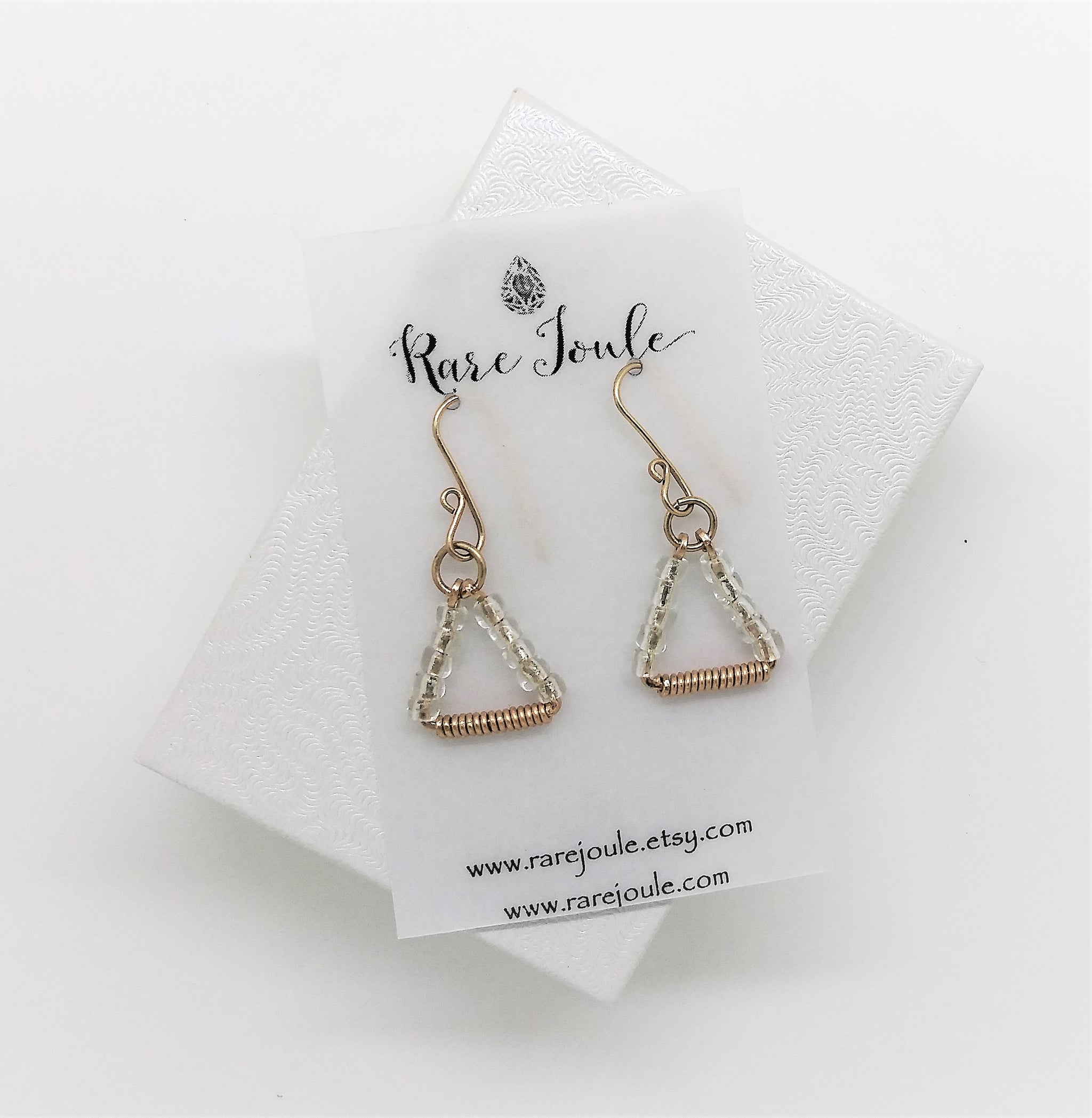 Clear Gold Triangle Earrings