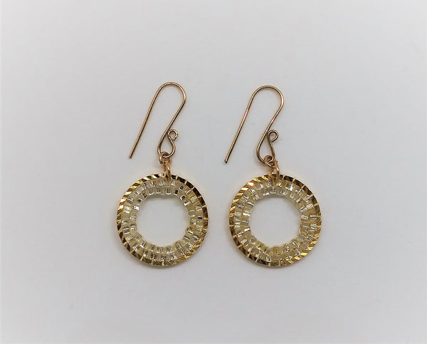 Clear Gold Circle Gleam Earrings