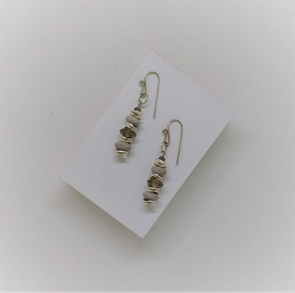 Silver & Grey Disc Earrings