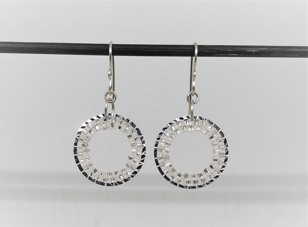 Clear Silver Circle Gleam Earrings