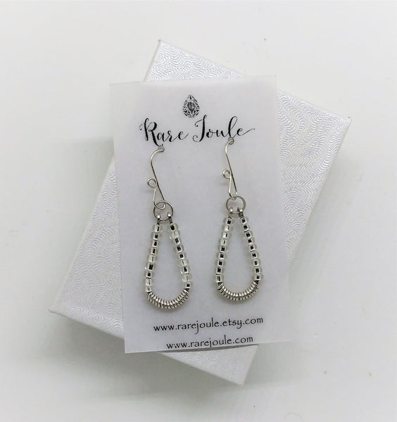 Silver and Clear Teardrop Earrings