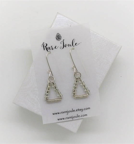 Clear Silver Triangle Earrings
