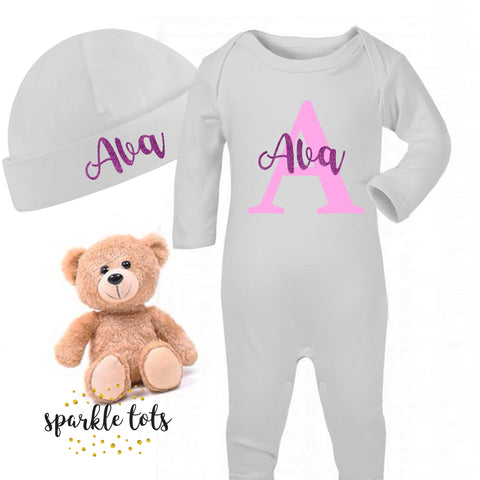 baby girl personalised sleepsuit, romper