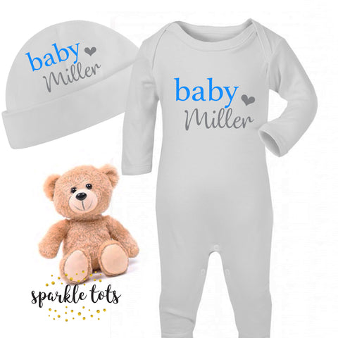 Baby boy Sleepsuit, Personalised, Baby Hat