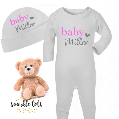 personalised baby girl sleepsuit, romper, baby girl gift