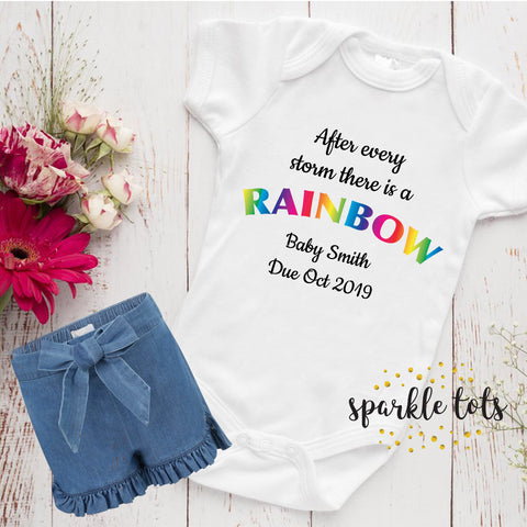 Rainbow Baby Baby Grow, Rainbow baby gift, announcement,