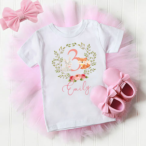 Girls woodland animal birthday outfit