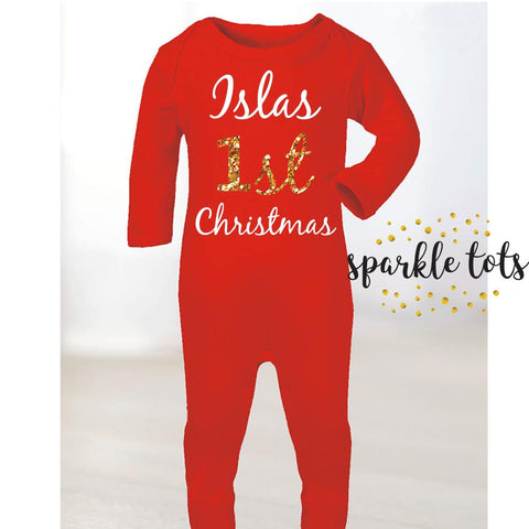 1st Christmas Baby Romper - my 1st Christmas, first Christmas Romper - Baby Christmas gifts - Christmas baby - Xmas Pyjamas - Red Onesie - Girls Boys Christmas