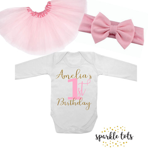 1st Birthday outfit - girls birthday pink personalised gold glitter outfit - one romper onesie - cake smash outift - first birthday tutu set
