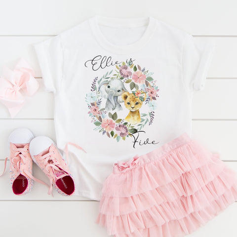 Girls animal birthday t-shirt