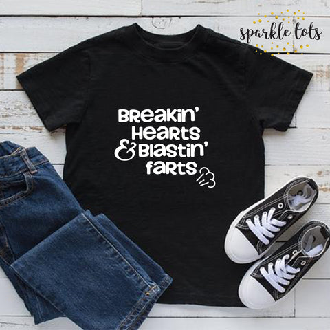 Breakin' Hearts and Blastin' Farts / funny boys Shirt / toddler Top / boys clothing