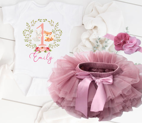 Girls 1st birthday outfit woodland animals