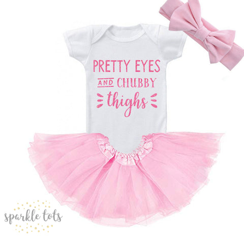 Pretty Eyes and Chubby Thighs outfit baby Bodysuit